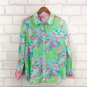 Lilly Pulitzer | Colorful Gecko Print Blouse